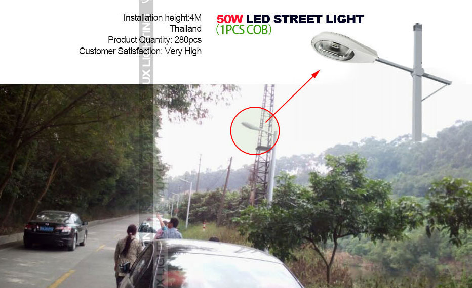 50w led street light project in china